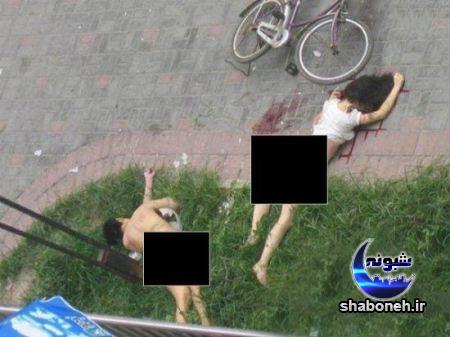 سقوط زن و شوهر لخت از پنجره حین رابطه جنسی
