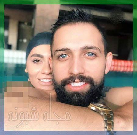 محسن افشانی و همسرش در استخر ,عکسهای جنجالی محسن افشانی و سویل تیانی