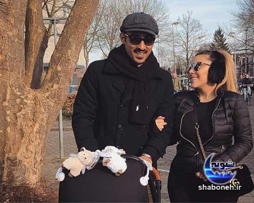 رضا قوچان نژاد در کنار همسر و پسرش