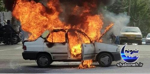 فیلم آتش زدن پراید به خاطر جریمه شدن