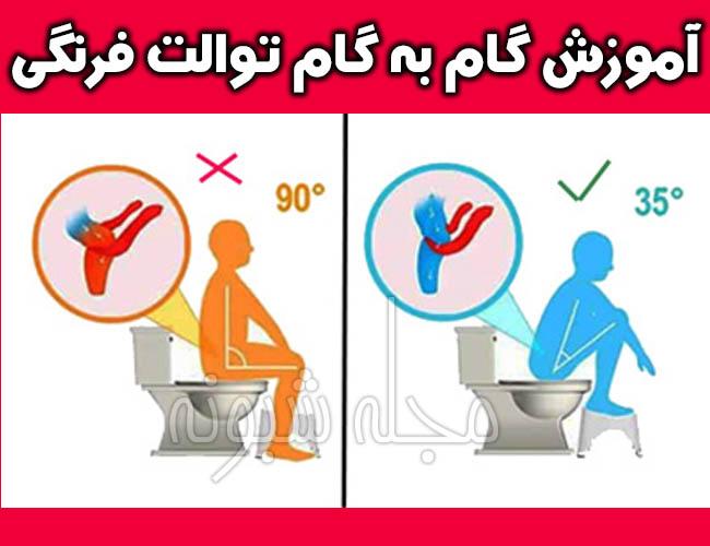 نحوه نشستن بر روی توالت فرنگی و شستن خود در دستشویی فرنگی
