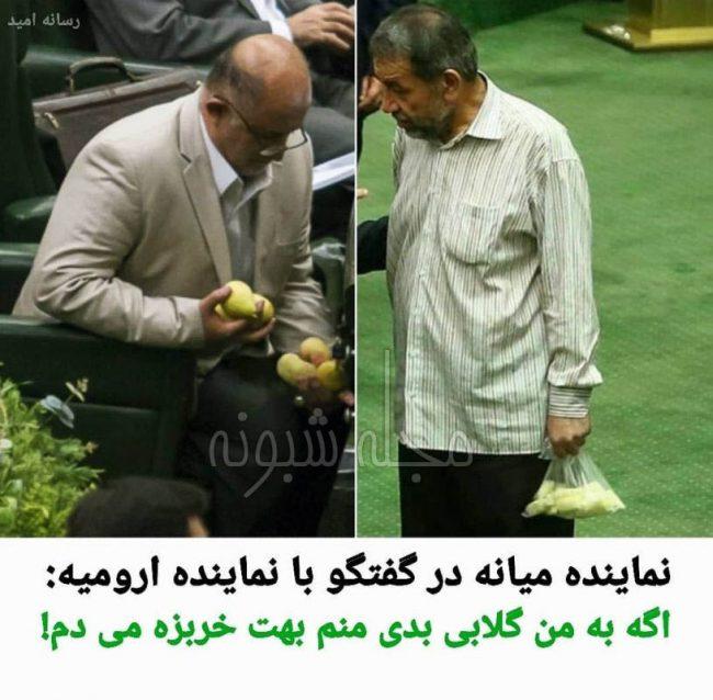 خربزه و گلابی نماینده شهر میانه و ارومیه در صحن علنی مجلس