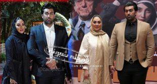 عکس های جدید الهام حمیدی و همسرش و علیرضا صادقی در اکران فیلم مسخره باز
