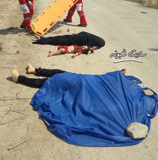 واژگونی اتوبوس در اصفهان جسد در جاده