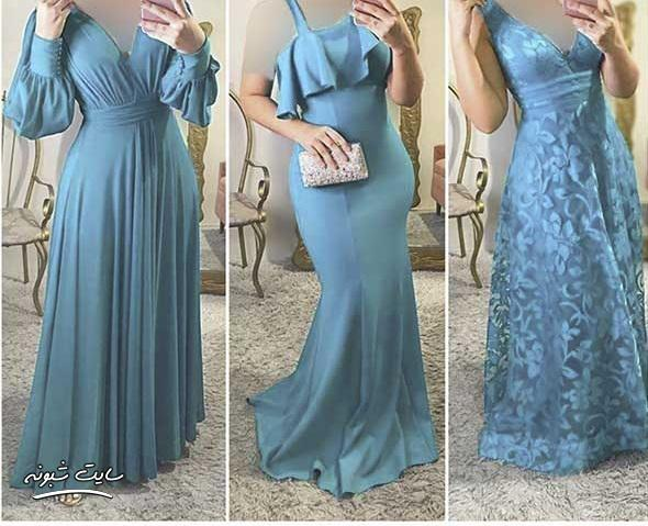 مدل لباس مجلسی زنانه رنگ فیروزه ای و آبی آسمانی 2020 + قیمت