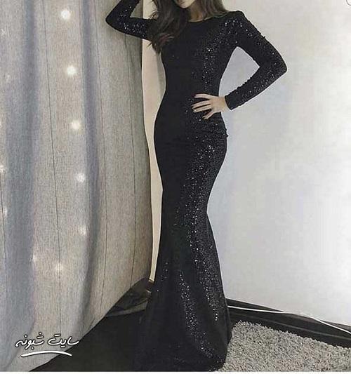 مدل لباس مجلسی زنانه بلند مشکی و نوک مدادی جدید و شیک 2020 + قیمت