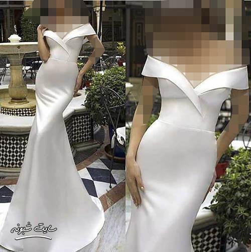 مدل لباس مجلسی زنانه بلند سفید رنگ جدید و شیک 2020 + قیمت