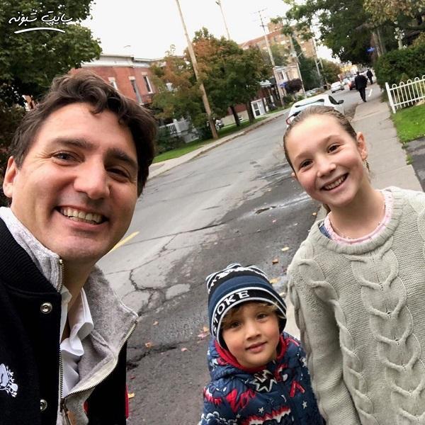 سلفی جاستین ترودو نخست وزیر کانادا و دخترش +عکس
