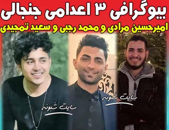 بیوگرافی امیرحسین مرادی و محمد رجبی و سعید تمجیدی سه معترض آبان ماه