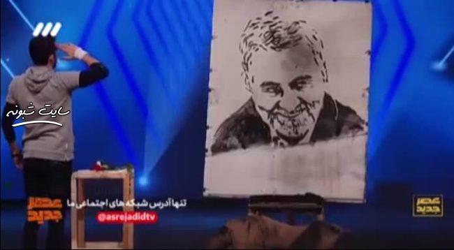 اهدای انگشتر حاج قاسم سلیمانی به مهران رحمانی (شرکت کننده عصر جدید)