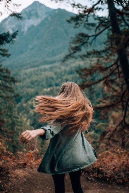 عکس پروفایل دختر از پشت در جنگل