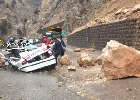 ریزش کوه در جاده چالوس +فیلم وحشتناک