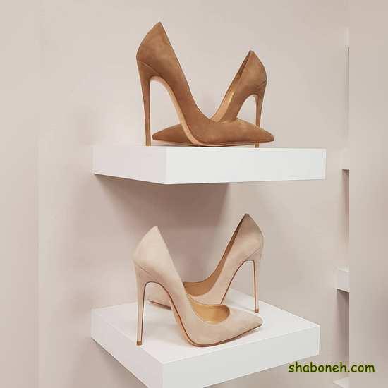 کفش مجلسی دخترانه شیک پاشنه دار رنگ روشن