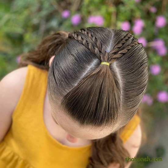آموزش بافت مو ساده بچه گانه دخترانه