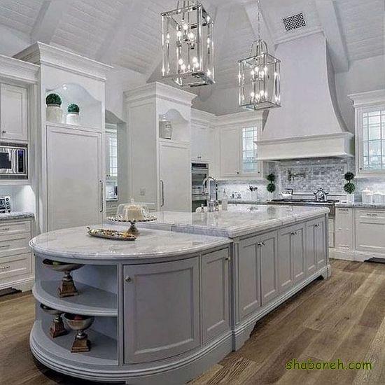 تصاویر کابینت آشپزخانه های گلاس سفید رنگ