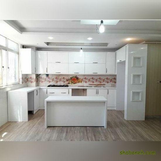 تصاویر کابینت آشپزخانه کوچک سفید رنگ