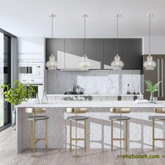 عکس از کابینت آشپزخانه جدید سفید رنگ