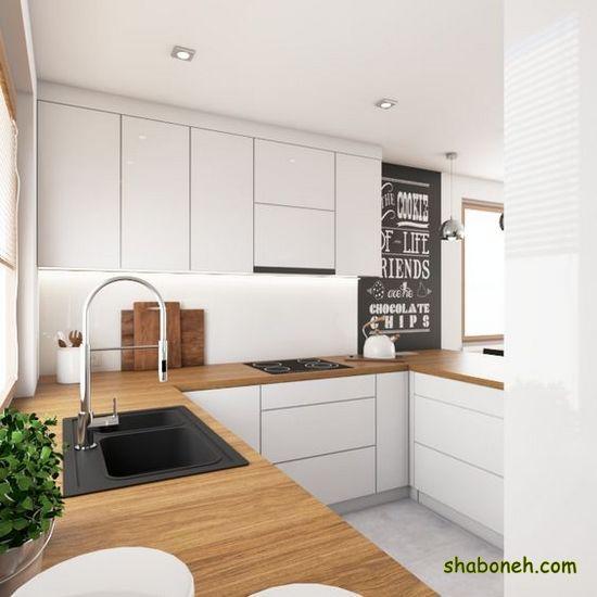 عکس از کابینت آشپزخانه کوچک سفید رنگ