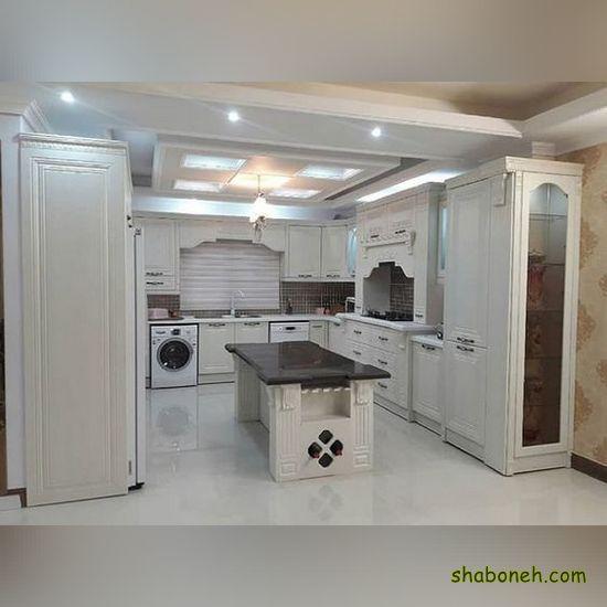 عکس از کابینت آشپزخانه مدرن سفید رنگ