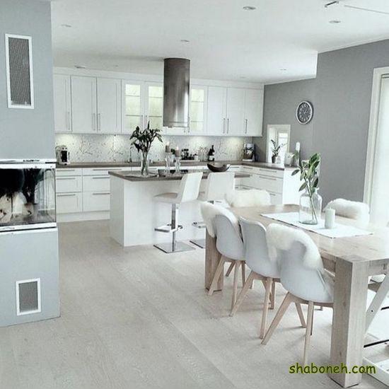 عکس از کابینت آشپزخانه ممبران سفید رنگ