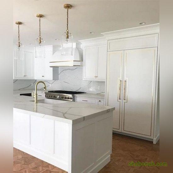 کابینت زیبای اشپزخانه سفید رنگ