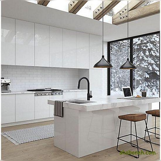 تصاویر کابینت آشپزخانه جزیره سفید رنگ