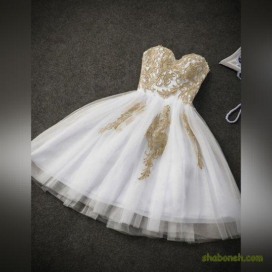 لباس مجلسی کوتاه سفید