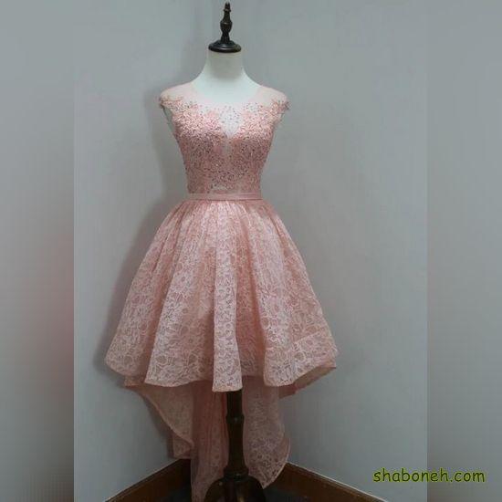 لباس مجلسی کوتاه زنانه با پارچه لمه