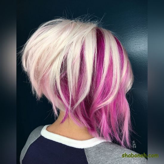 مدل رنگ موی مش و هایلایت کوتاه