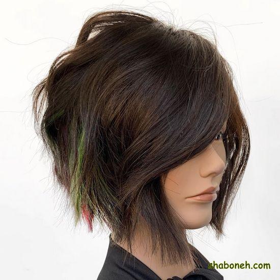 رنگ مو ترکیبی تیره کوتاه