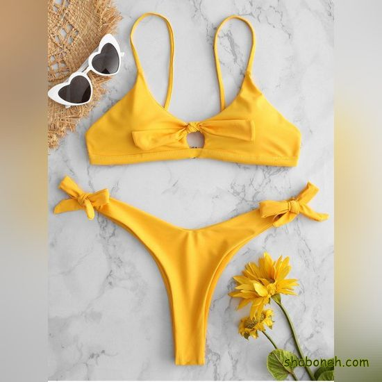 مدل مایو دخترانه زرد رنگ