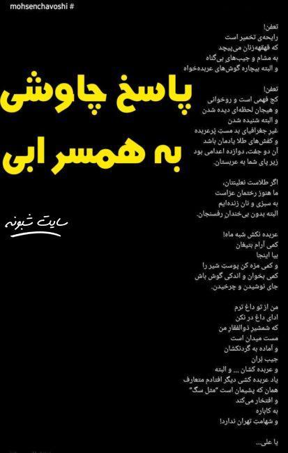 دعوا و توهین محسن چاوشی و مهشید همسر ابی +فیلم پیام ابی به چاوشی