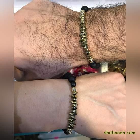 دستبند اسپرت مهره و طلا