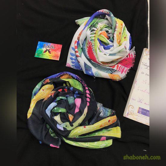 روسری نخی قواره بزرگ تک رنگ تابستانه