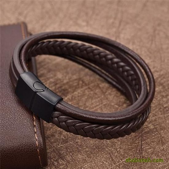 عکس دستبند چرم مردانه