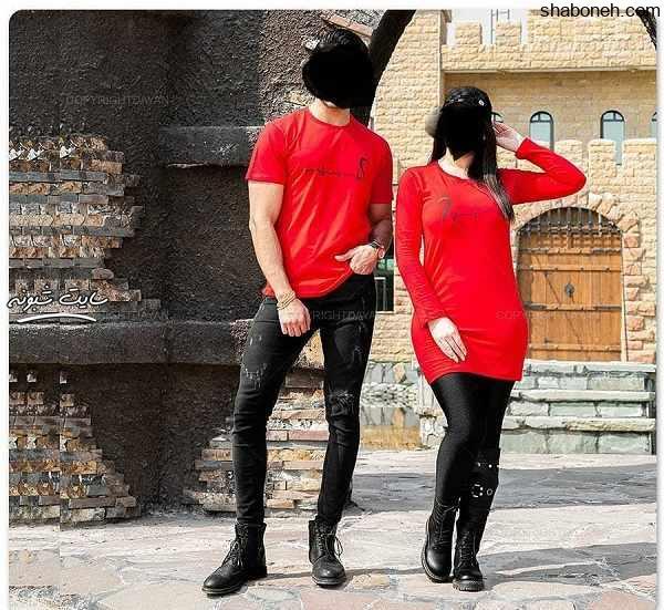 مدل های ست همسر مانتو و تی شرت قرمز (زن و شوهر) ویژه تابستان ۹۹