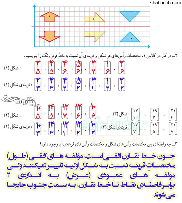 جواب سوالات فصل 4 ریاضی ششم ابتدایی
