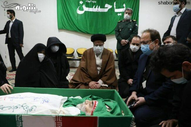 عکس پیکر (جنازه و جسد) شهید محسن فخری زاده مراسم تشییع جنازه