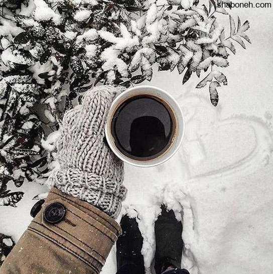 عکس پروفایل دخترونه زمستانی و برفی با فنجان چای و قهوه