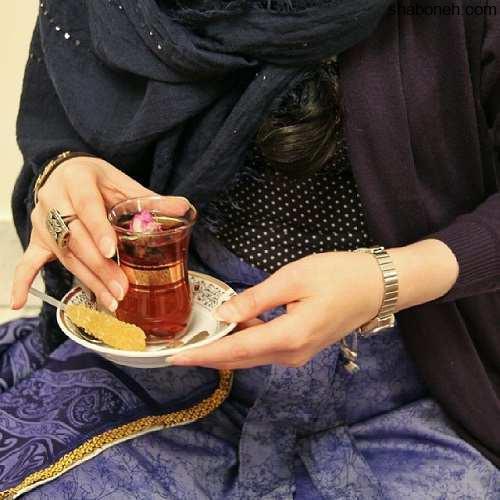 عکس پروفایل دخترونه با چای و نبات