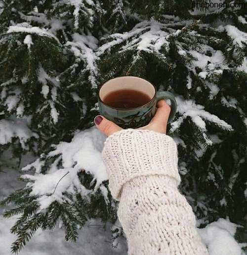 عکس پروفایل دخترونه برفی با چایی زمستانی و برفی زیبا و خاص برای دختران