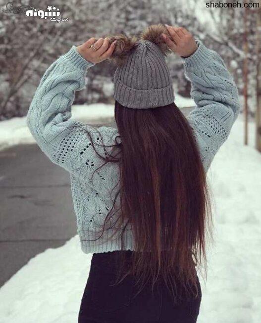 عکس دختر در برف از پشت برای پروفایل 2021 زمستانی دخترونه عکس پروفایل دخترونه در برف با شال و کلاه