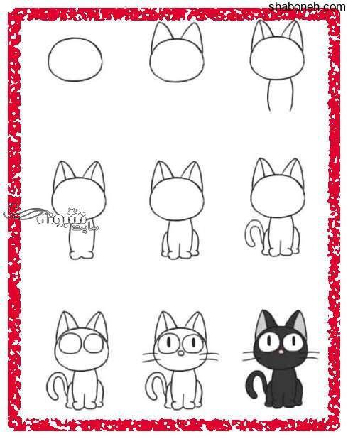 آموزش نقاشی کشیدن گربه برای کودکان (آموزش تصویری)