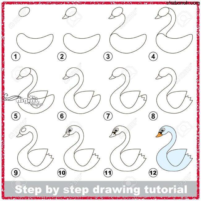 آموزش نقاشی کشیدن مرغابی برای کودکان (آموزش تصویری)