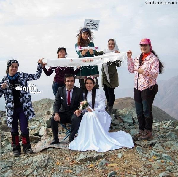مراسم عقد ریحانه رضایی و علی رشیدی در قله کوه (عکس)