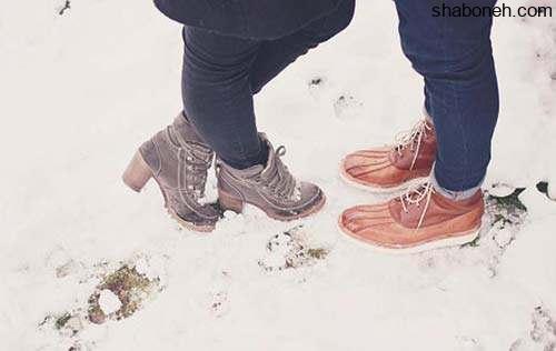 عکس پروفایل دو نفره در برف و عکس پروفایل عاشقانه در برف زمستان