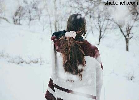 عکس دختر در برف از پشت و عکس پروفایل دختر در برف