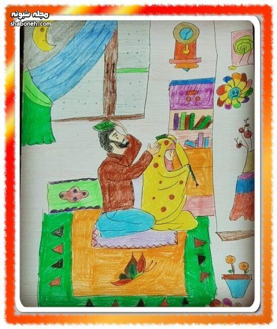آموزش نقاشی شب قدر و شب احیا کودکانه برای مدرسه