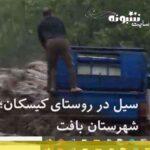 فیلم غرق شدن راننده نیسان در سیل روستای کیسکان شهرستان بافت